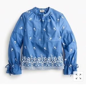 NWT J Crew embroidered floral popover shirt